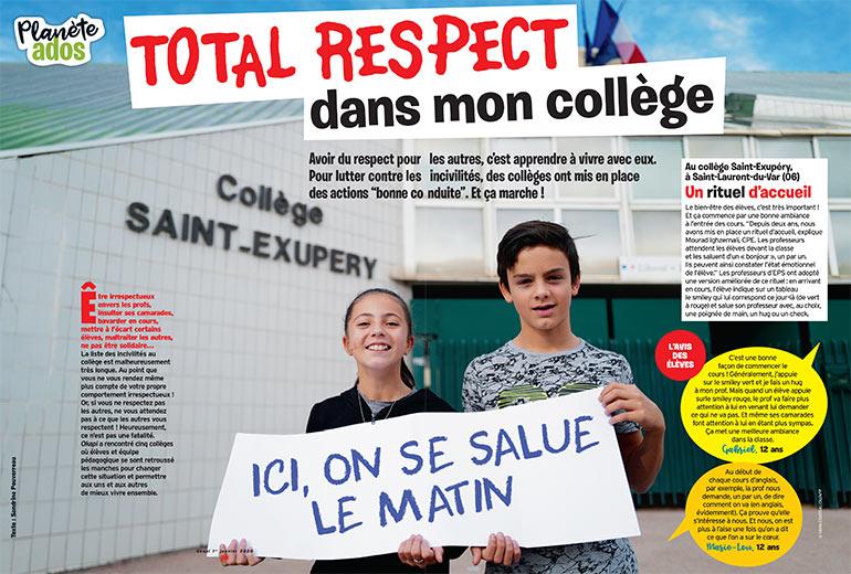 """""""Total respect dans mon collège"""", Okapi n°1103, 1er janvier 2020. Texte: Sandrine Pouverreau. © Yann Coatsaliou/AFP."""