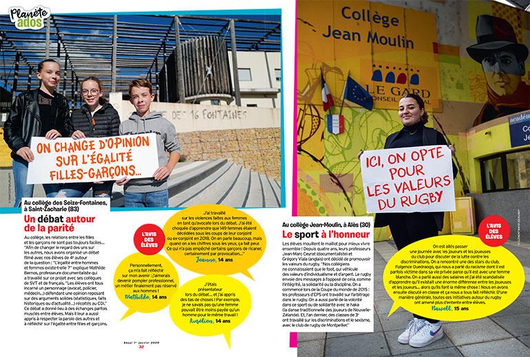 """""""Total respect dans mon collège"""", Okapi n°1103, 1er janvier 2020. Texte: Sandrine Pouverreau. © photos : Yann Coatsaliou/AFP (gauche), Clément Mahoudeau/AFP (droite)"""