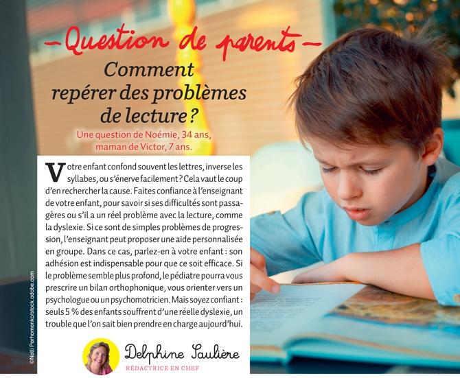 """""""Question de parents : Comment repérer des problèmes de lecture ?"""", Mes premiers J'aime lire, n°206, octobre 2019"""